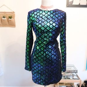 FOREVER 21 SEQUINED MERMAID PRINT DRESS
